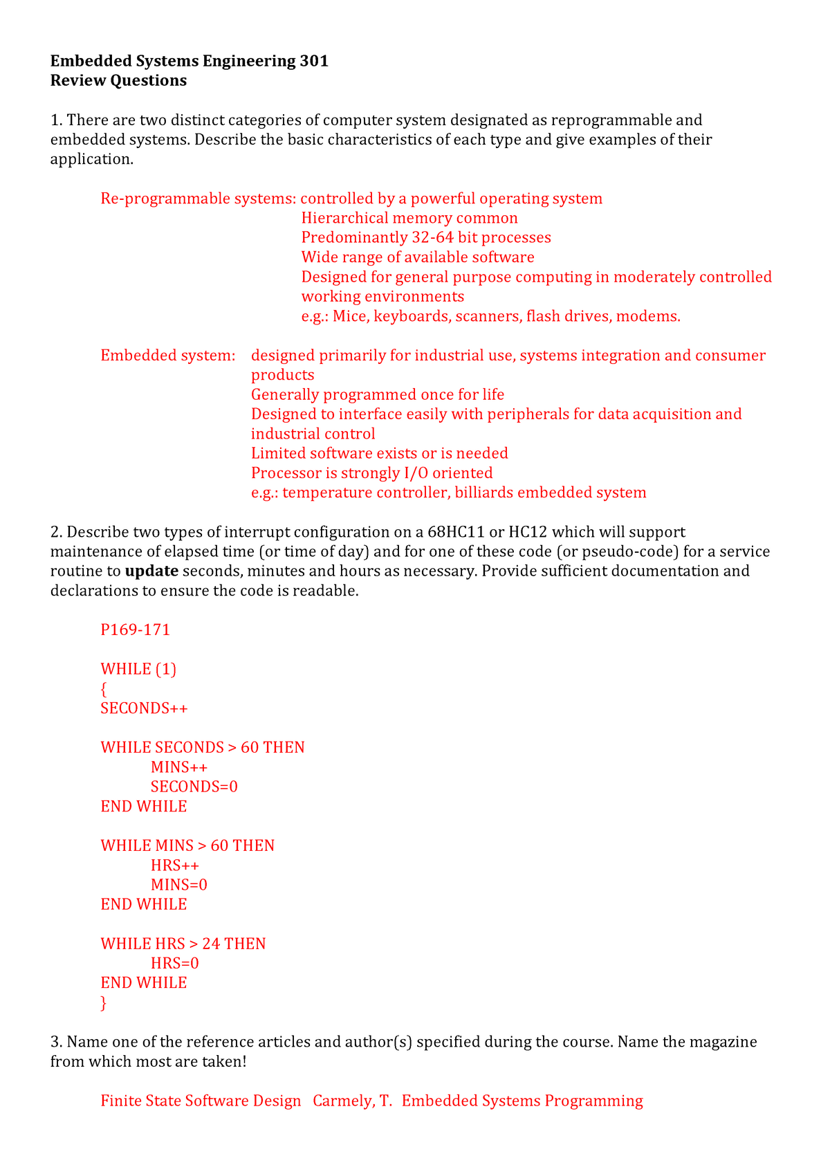 Exam 2009 - 12855: Embedded Systems Engineering 301 - StuDocu