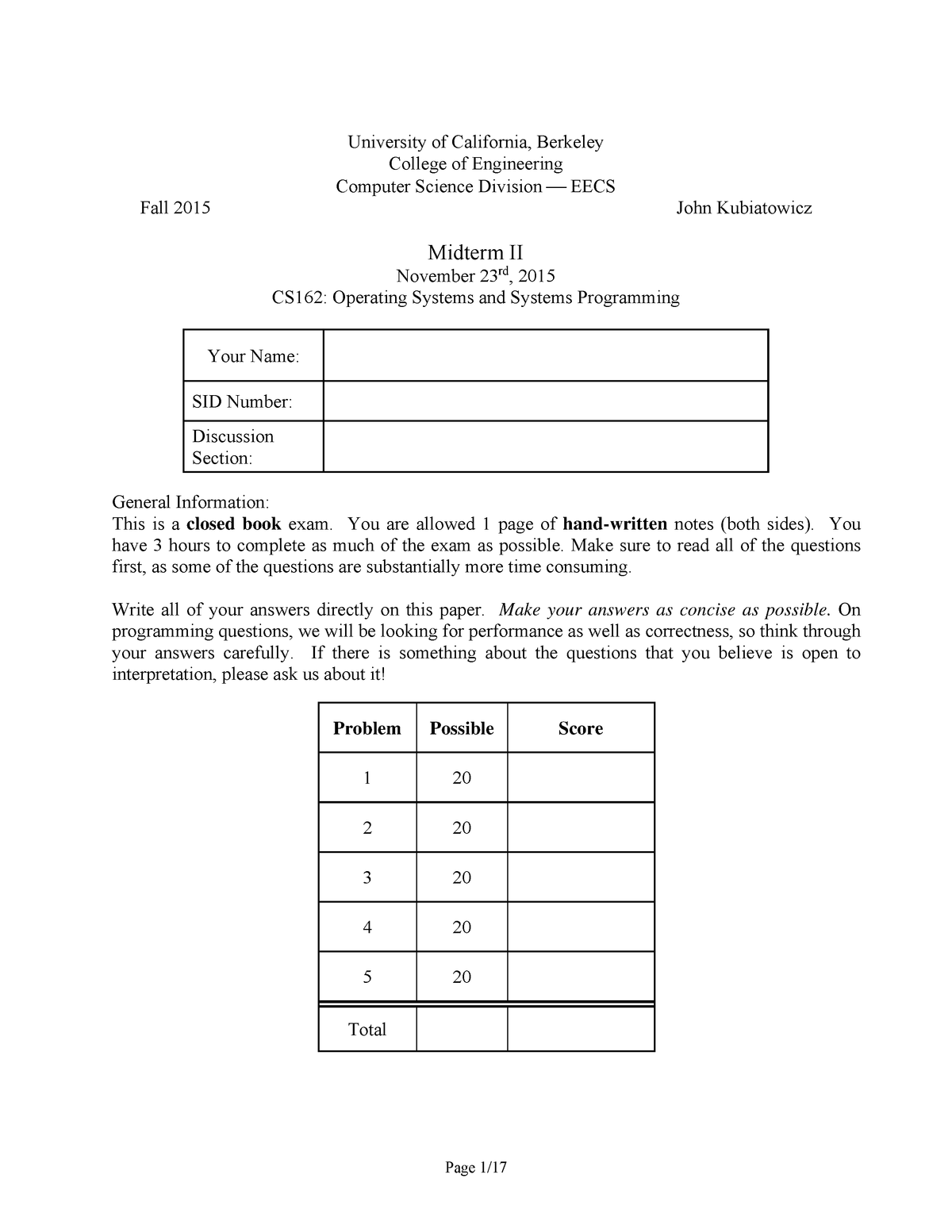 Exam 2015 - COMPSCI 162: Operating Systems And System Programming