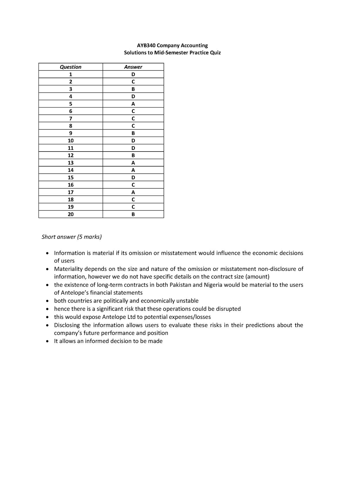 Mid Exam April 2019, answers - StuDocu