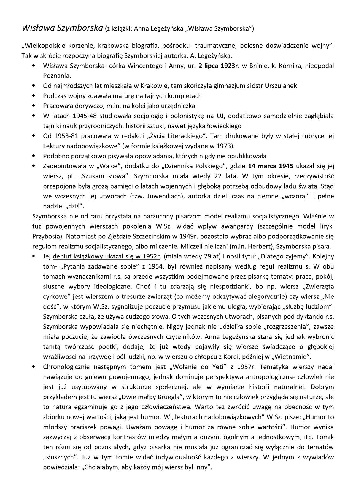 Wislawa Szymborska Wybór Wierszy Literatura Współczesna