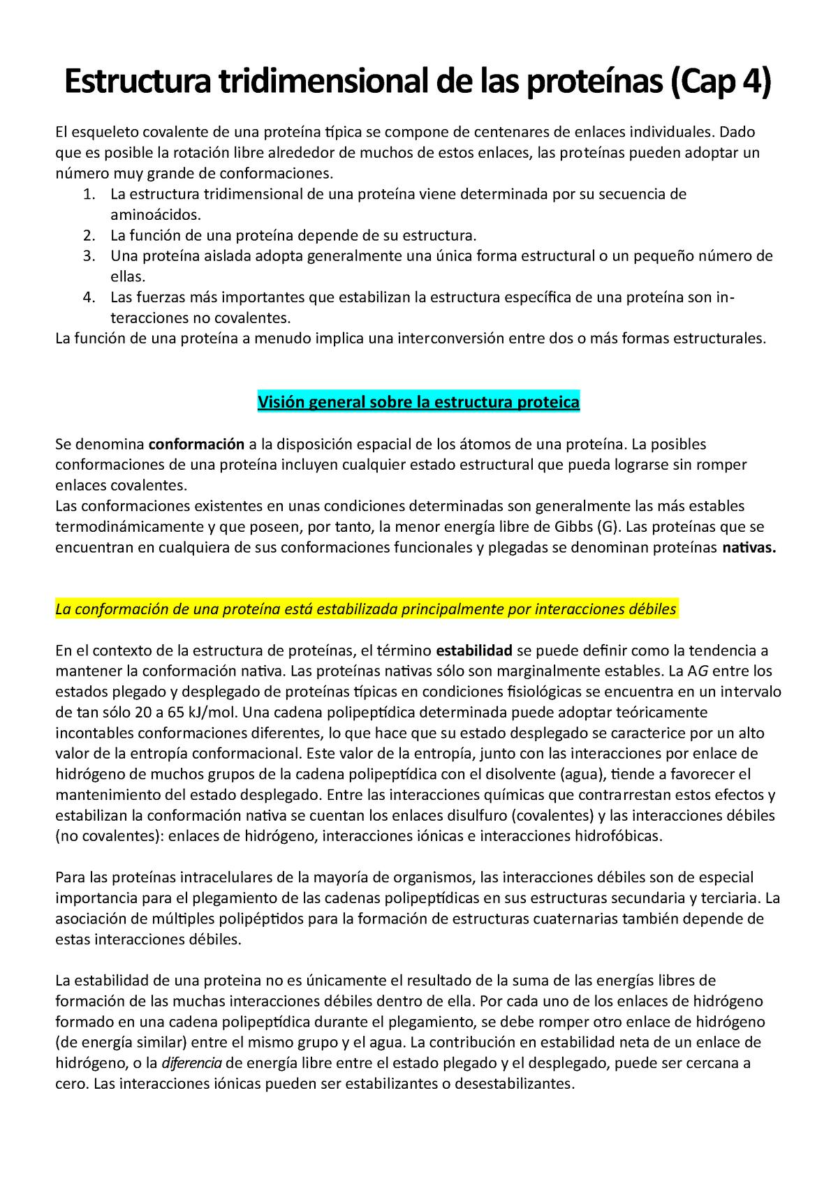 Estructura De Proteinas 2 Bioquímica 505a Udelar Studocu