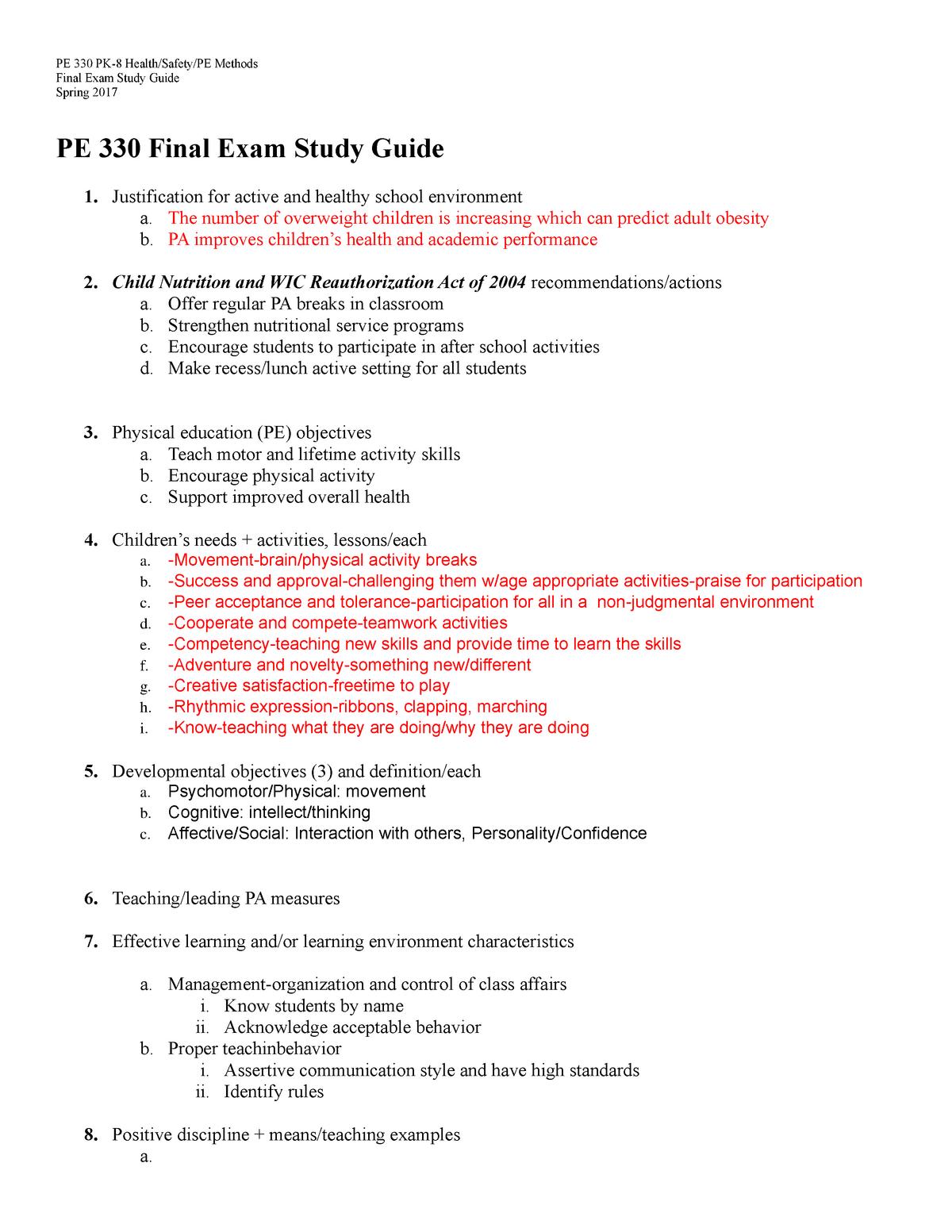 PE Final Exam Study Guide - PE 330 - StuDocu