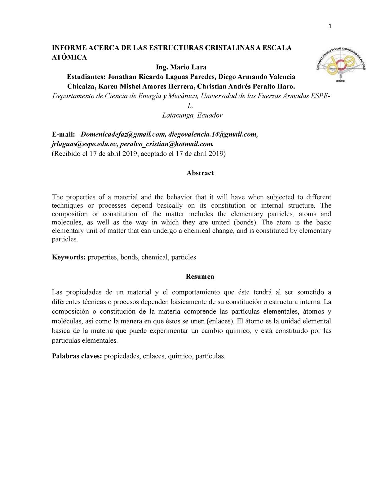 Informe Acerca De Las Estructuras Cristalinas A Escala