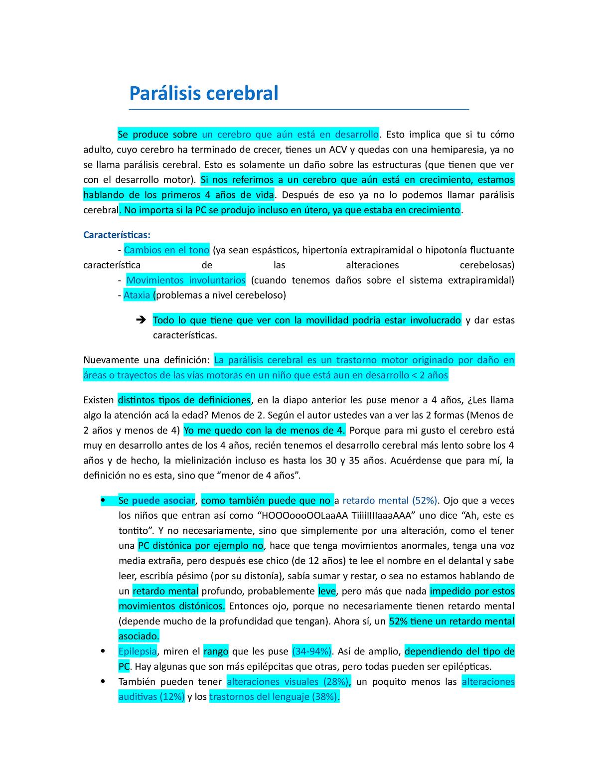 Clase 7 - Parálisis Cerebral - kinesiologia: Neurologia niños y adultos -  StuDocu