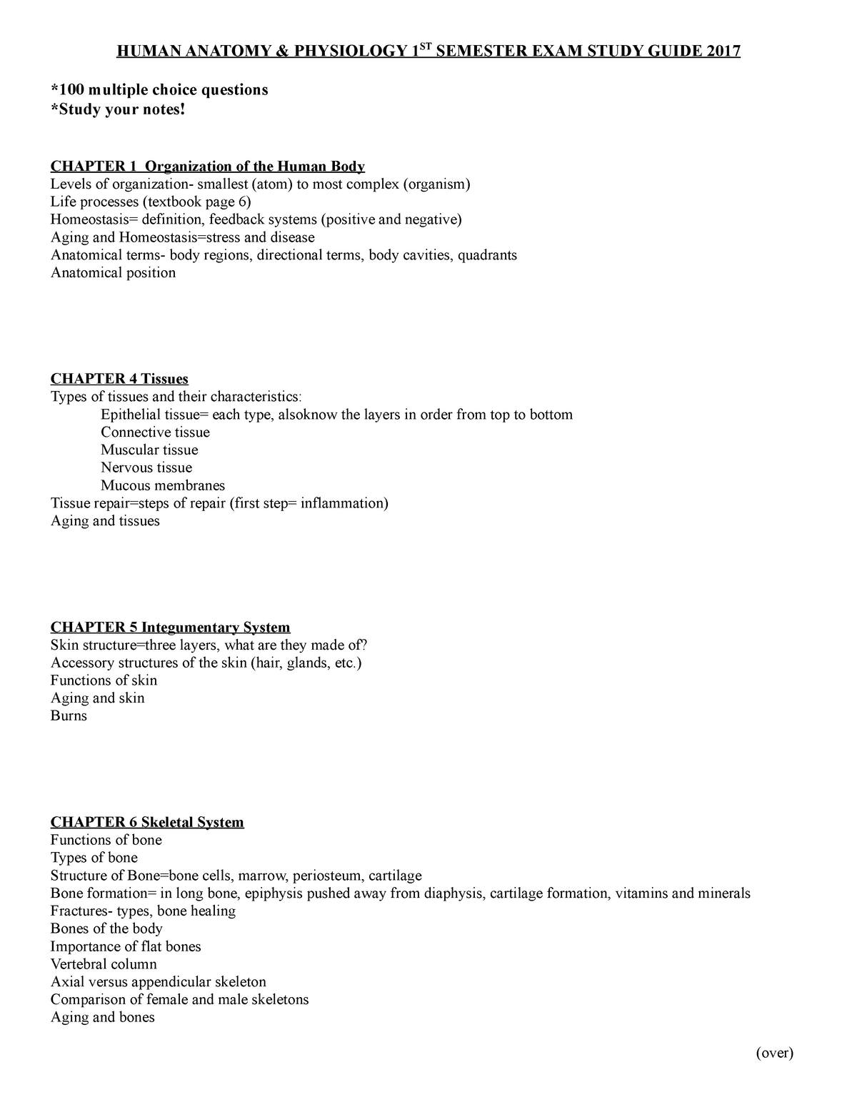 Human Anatomy Exam 1 Study Guide - BMS 6123 : Human Anatomy