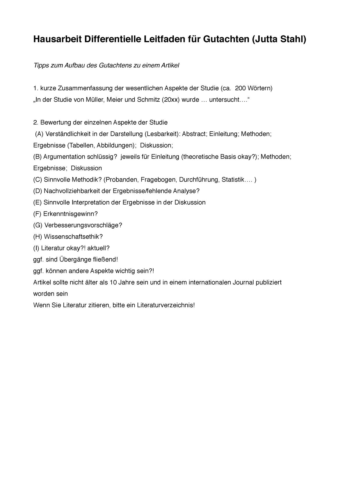 Leitfaden Für Gutachten Der Differentiellen Hausarbeit Uzuk001