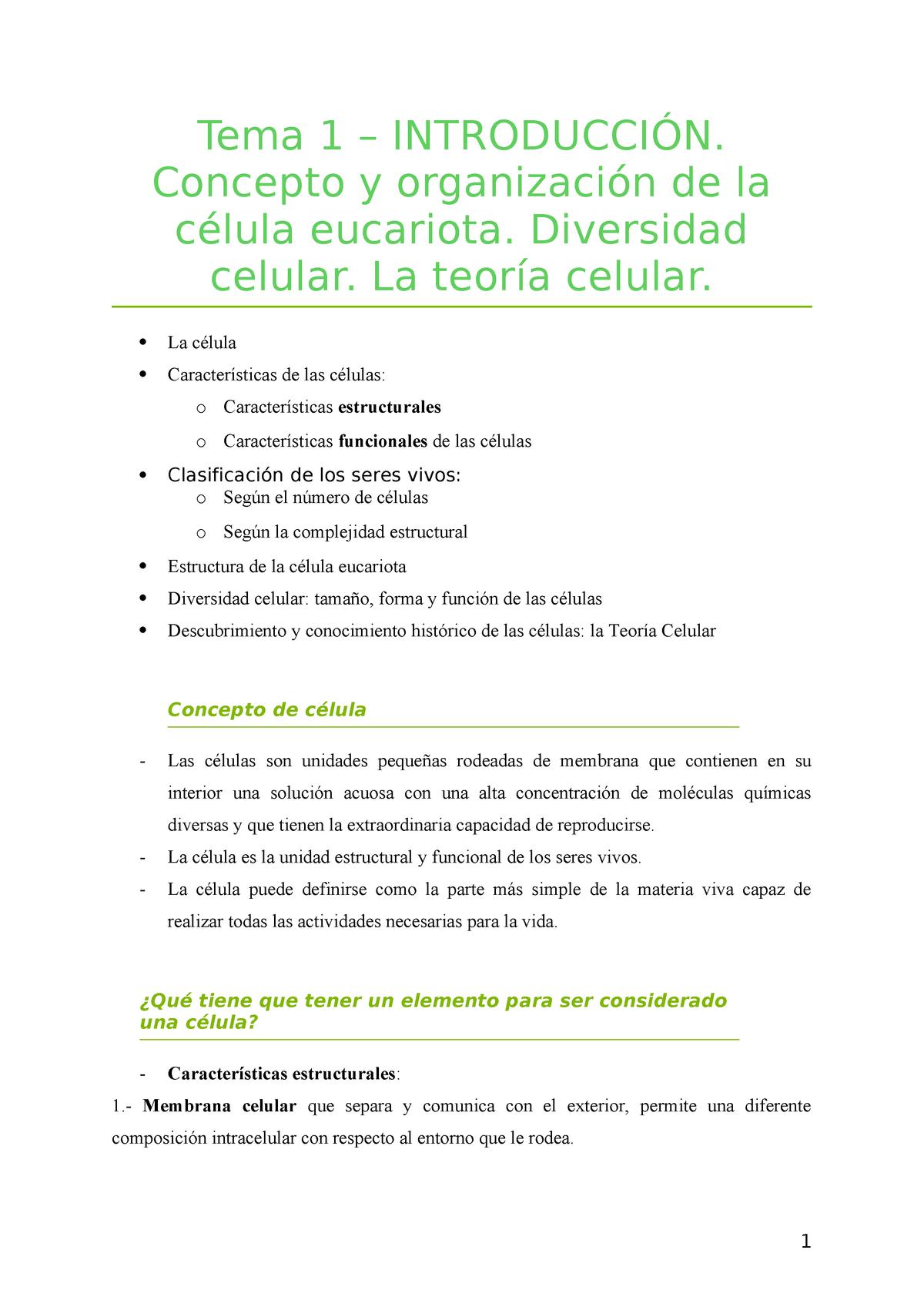 1r T Intro Apuntes 1 Biología Celular Udl Studocu