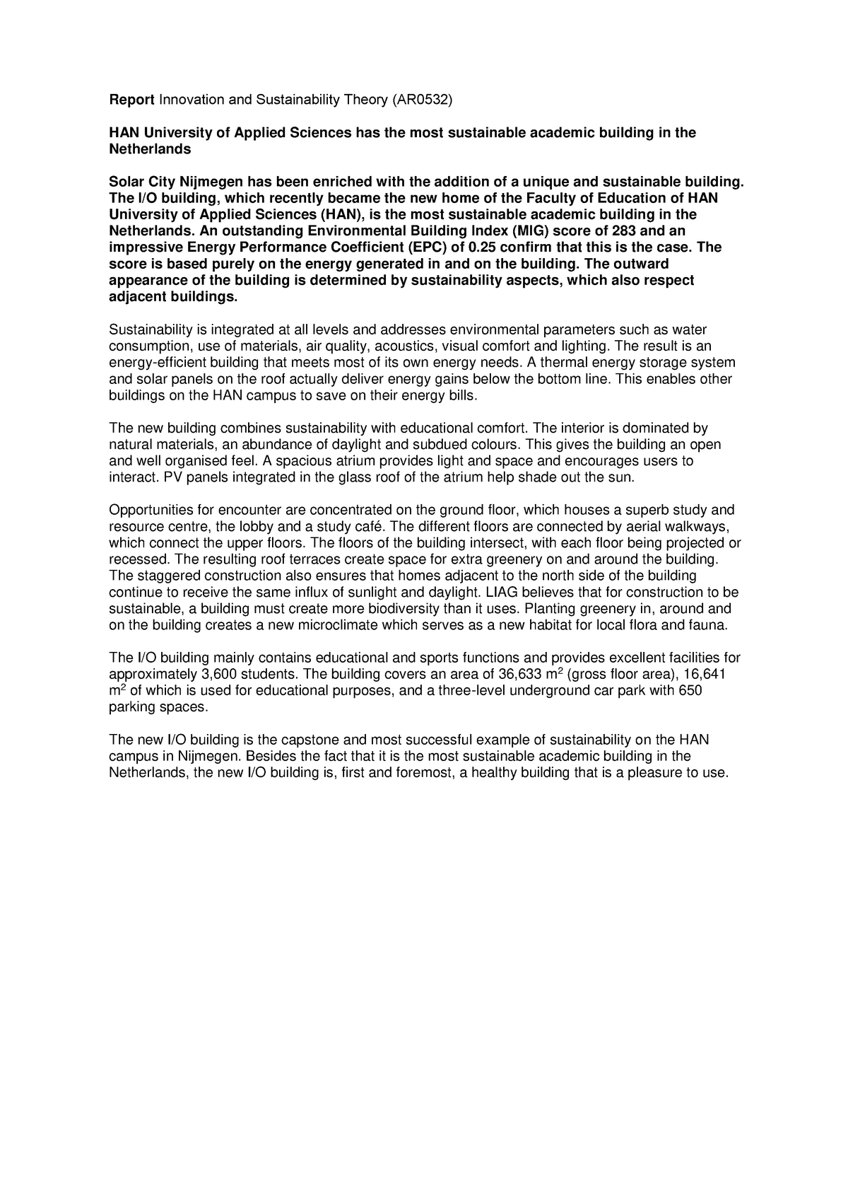 Essay Concept Report Report Innovation and Sustainability