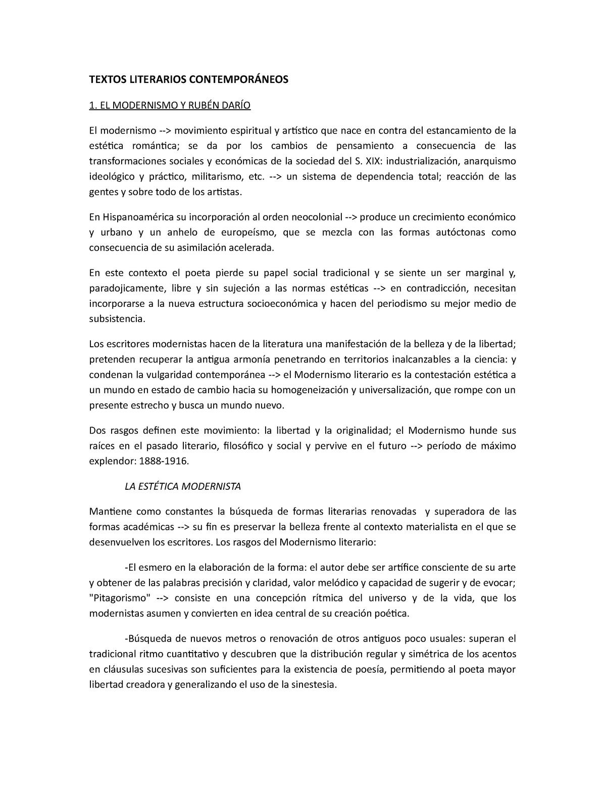 Apuntes Simples Textos Literarios Contemporáneos 6401112