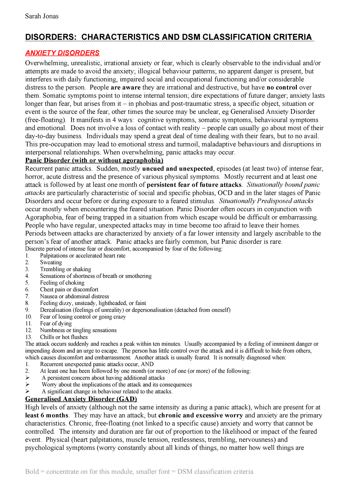 PYC3702 DSM DISORDERS - Abnormal Behaviour And Mental Health