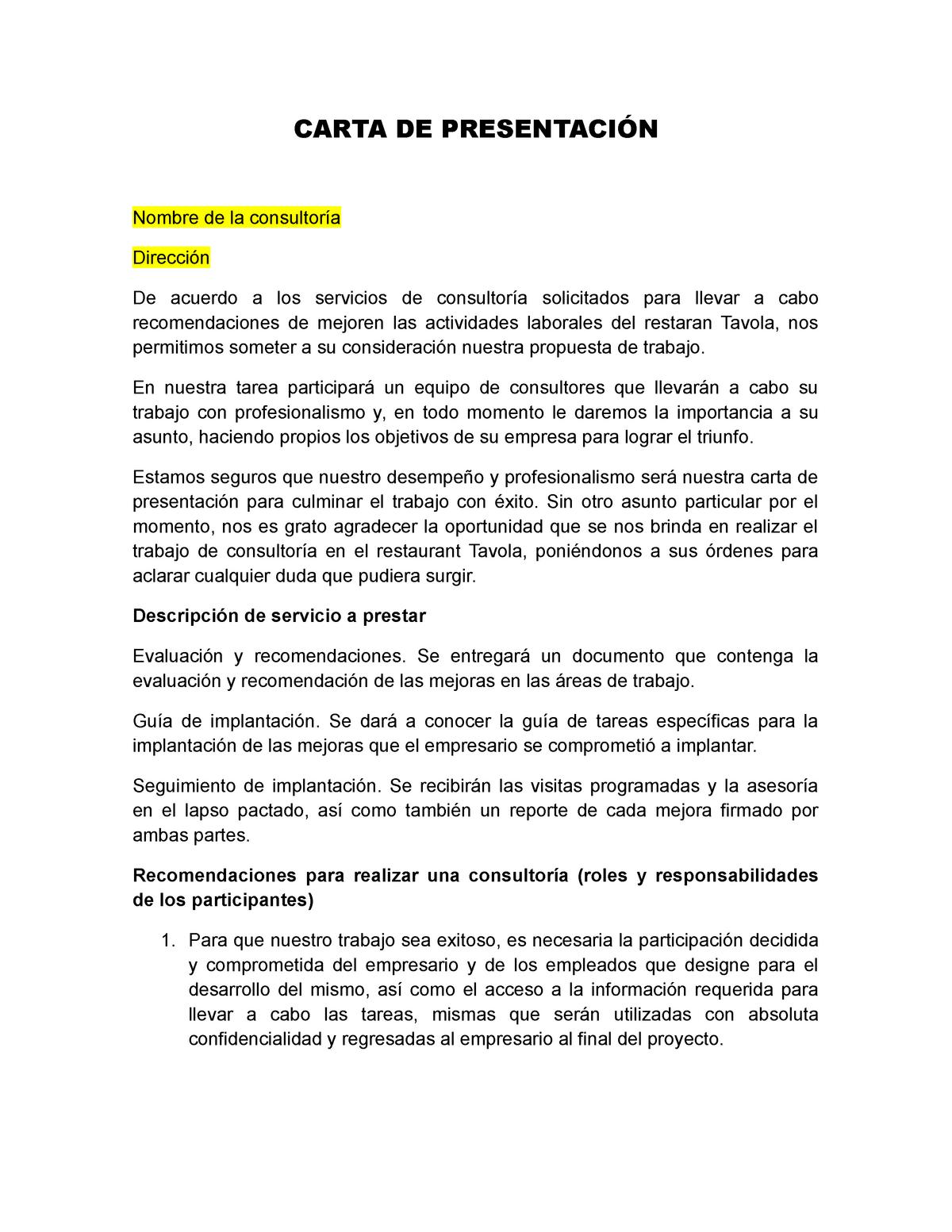 Carta De Presentacion Consultoria Adh 1011 Studocu