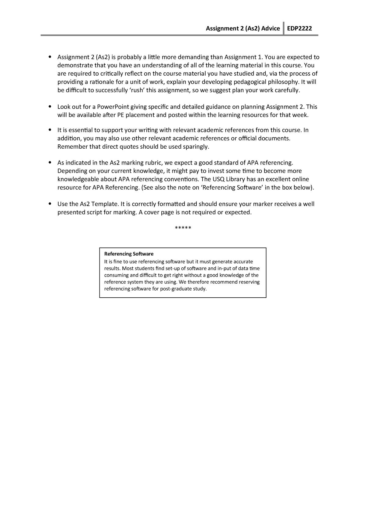 Summary - Assignment 2 advice - EDP2222 - StuDocu