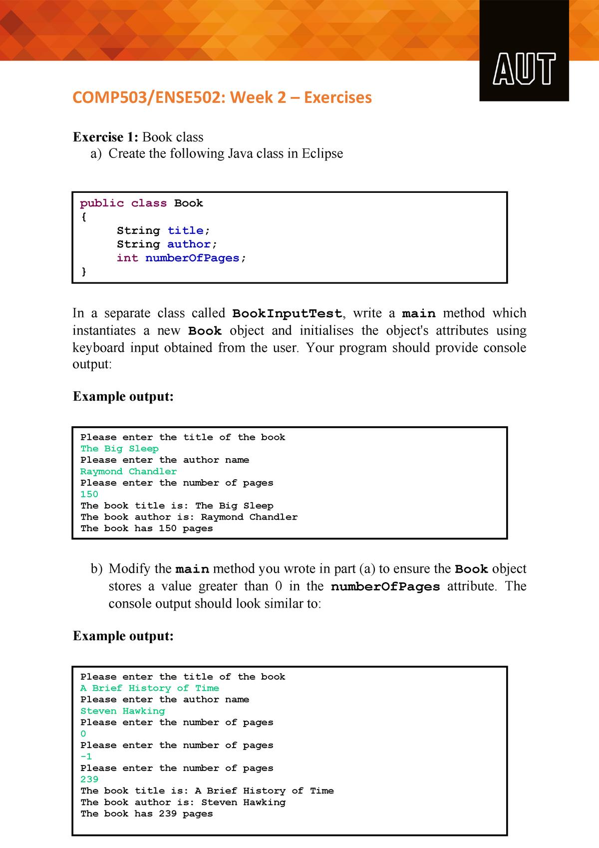 Week 2 - Lab Exercises - COMP503: Programming 2 - StuDocu