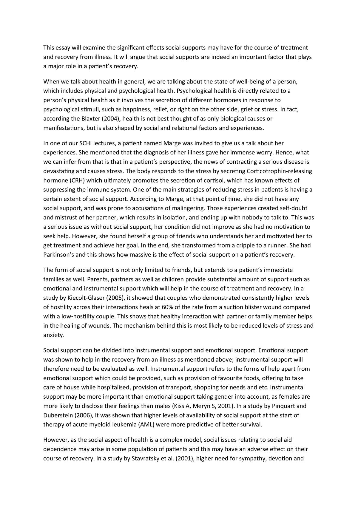 Essay for SCHI supervision 2 - SCHI: Social Context of