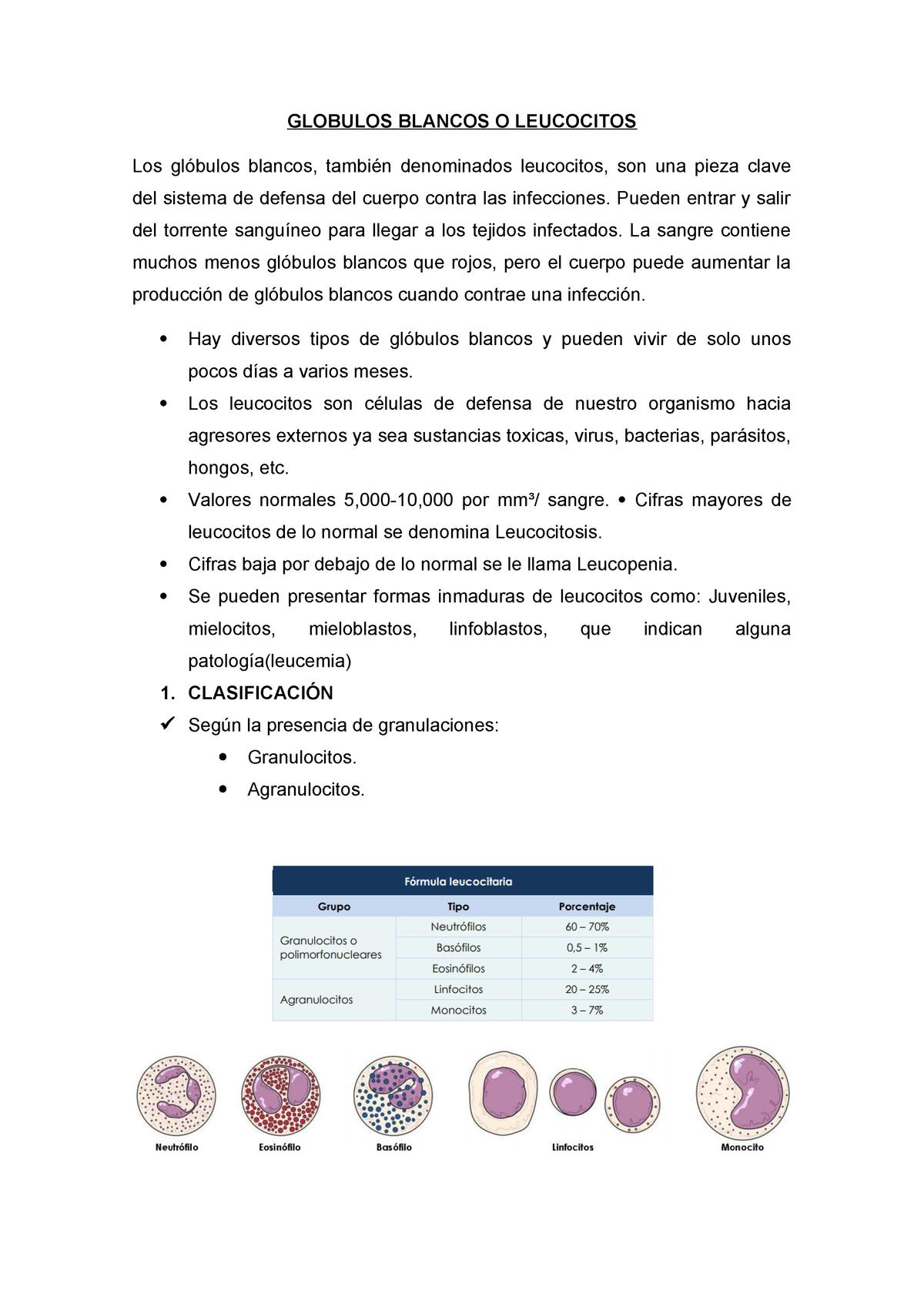 valores normales de los granulocitos en la sangre