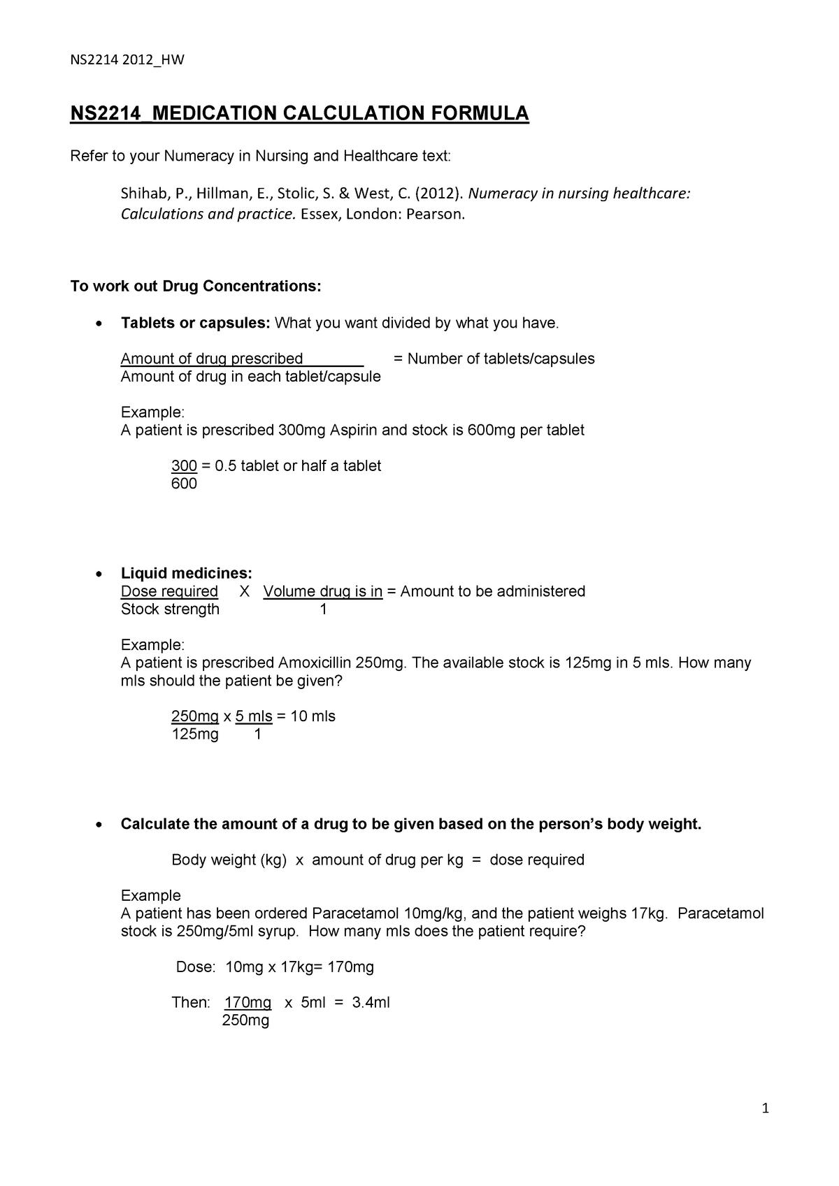 Med calculation formulas - NS2214:03: Clinical Nursing Practice 4