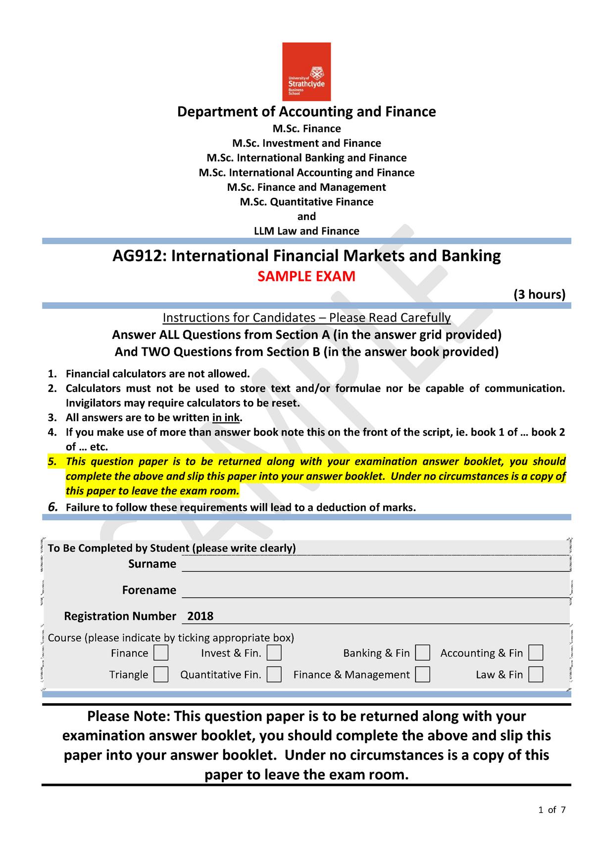 Exam 2018 - AG912: International Financial Markets And