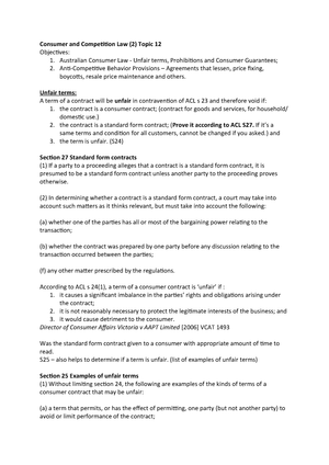 Lecture notes, lectures Week 11 - 14 - LAWS1100 Business Law