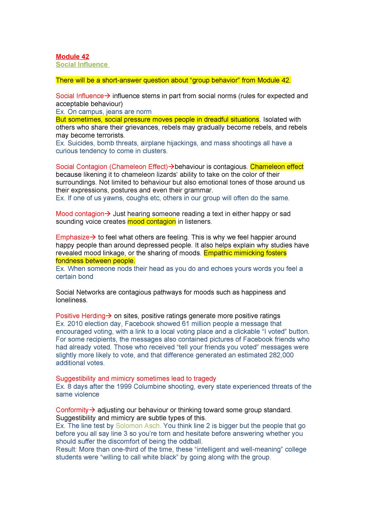 Module 42 - PSYC 1010: Introduction to Psychology - StuDocu