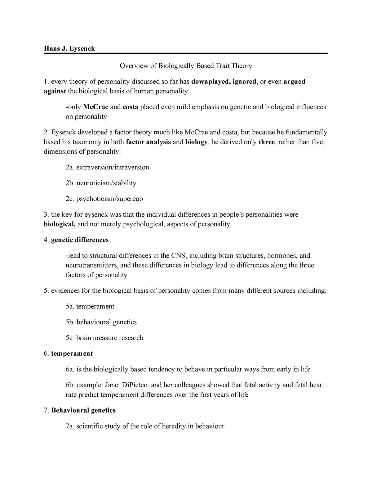 Hans J Eysenck (Theories of Personality by Feist) Summary - StuDocu