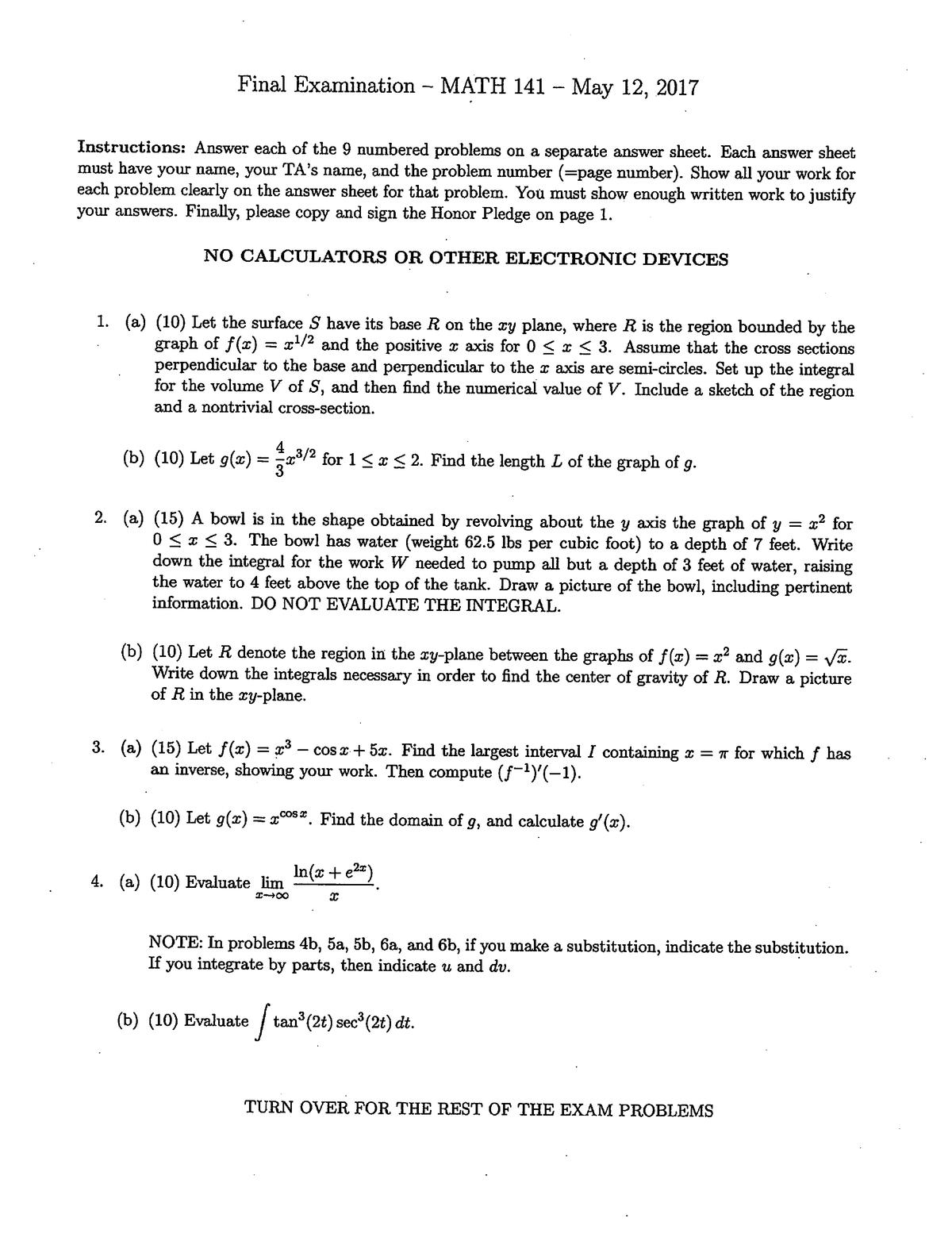 Exam 2017 - MATH141: Calculus II - StuDocu