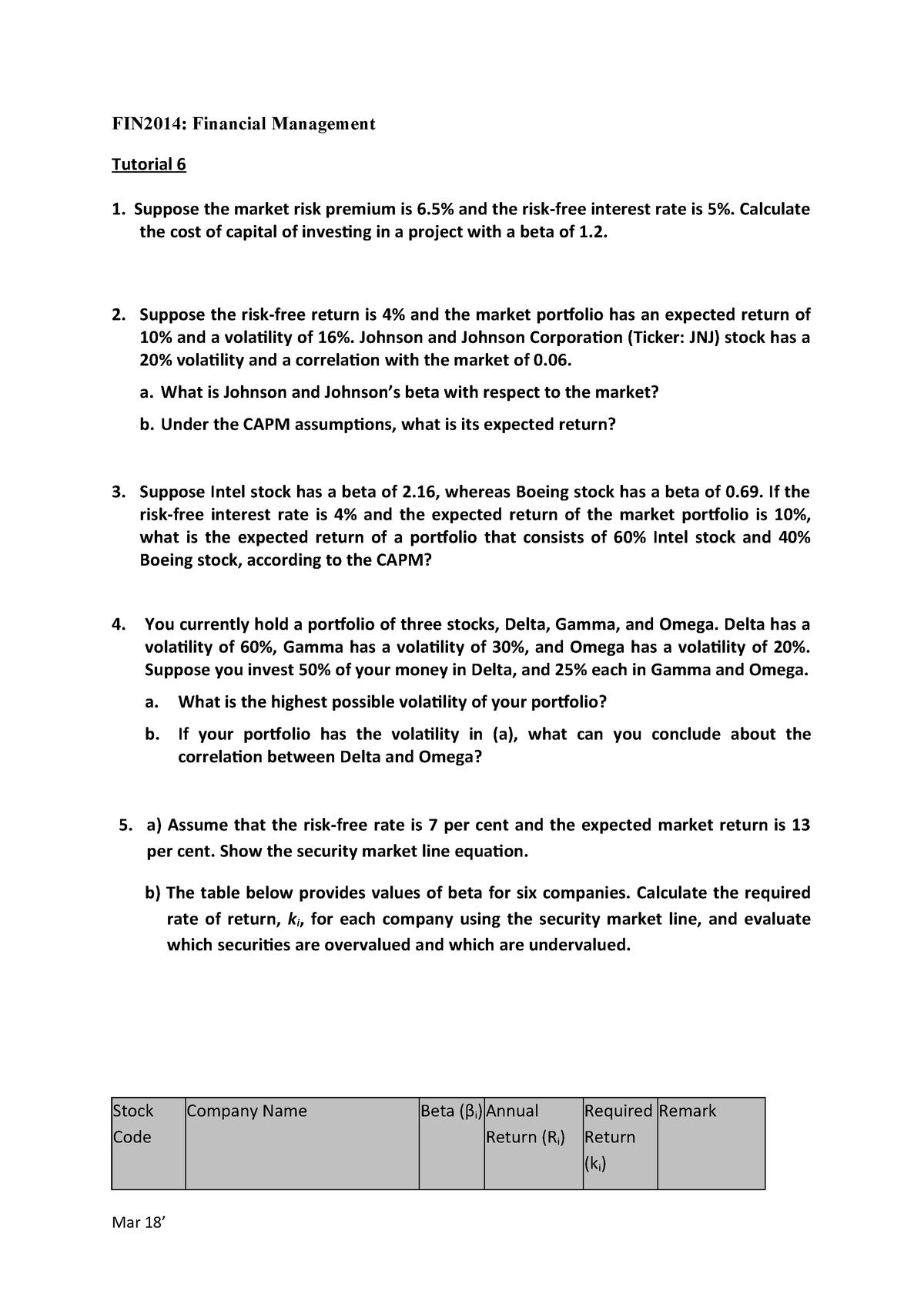 Tutorial 6n-Qns - BSc(Hons) FInancial Analysis BFA1608 - StuDocu