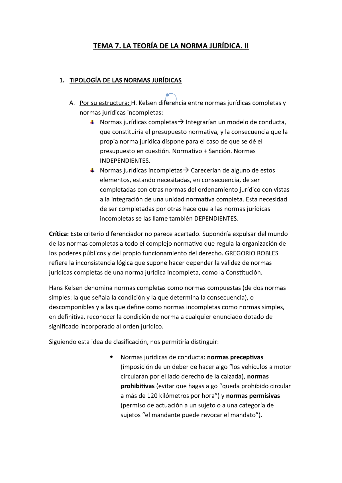 Tema 7 La Teoría De La Norma Jurídica Ii Teoría Del