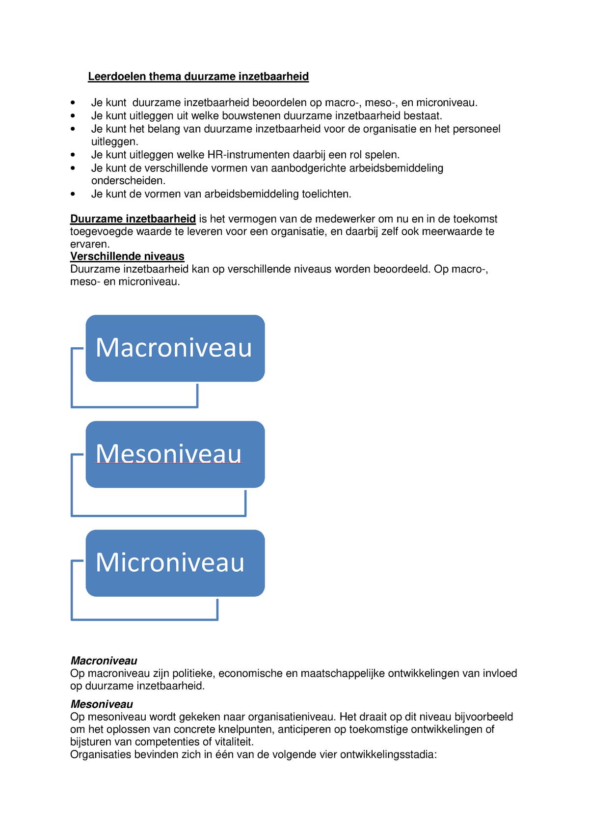 Microniveau Mesoniveau Macroniveau Zorg.Aantekeningen Project Reorganisatie En Uitstroom College 7