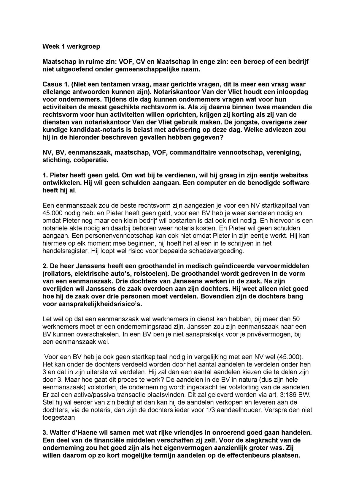 Wel Of Geen Bv.Handelsrecht Wg 1 Uitwerkingen Week 1 Plus De Vragen