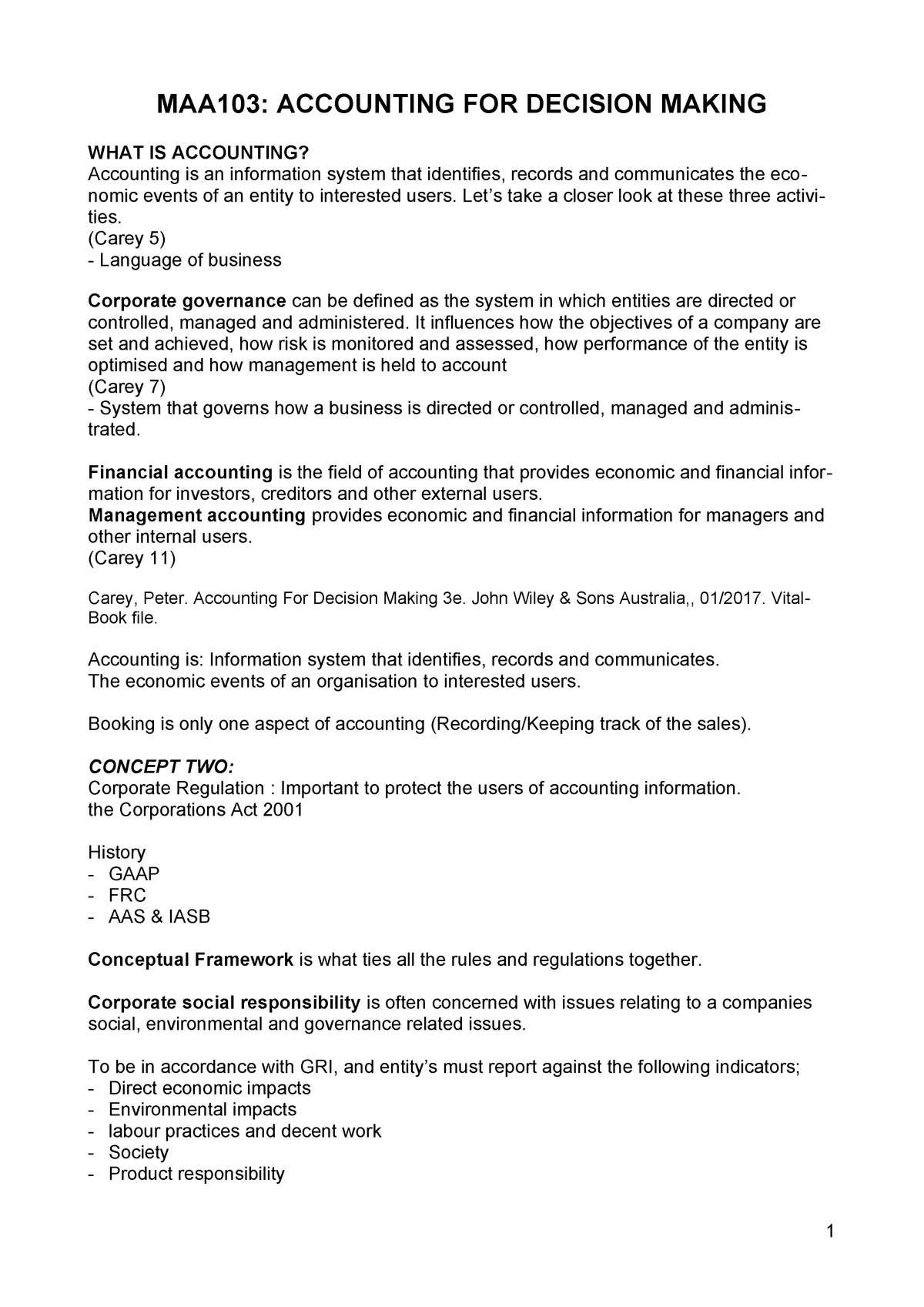 Accouting Notes - Summary Accounting for Decision Making