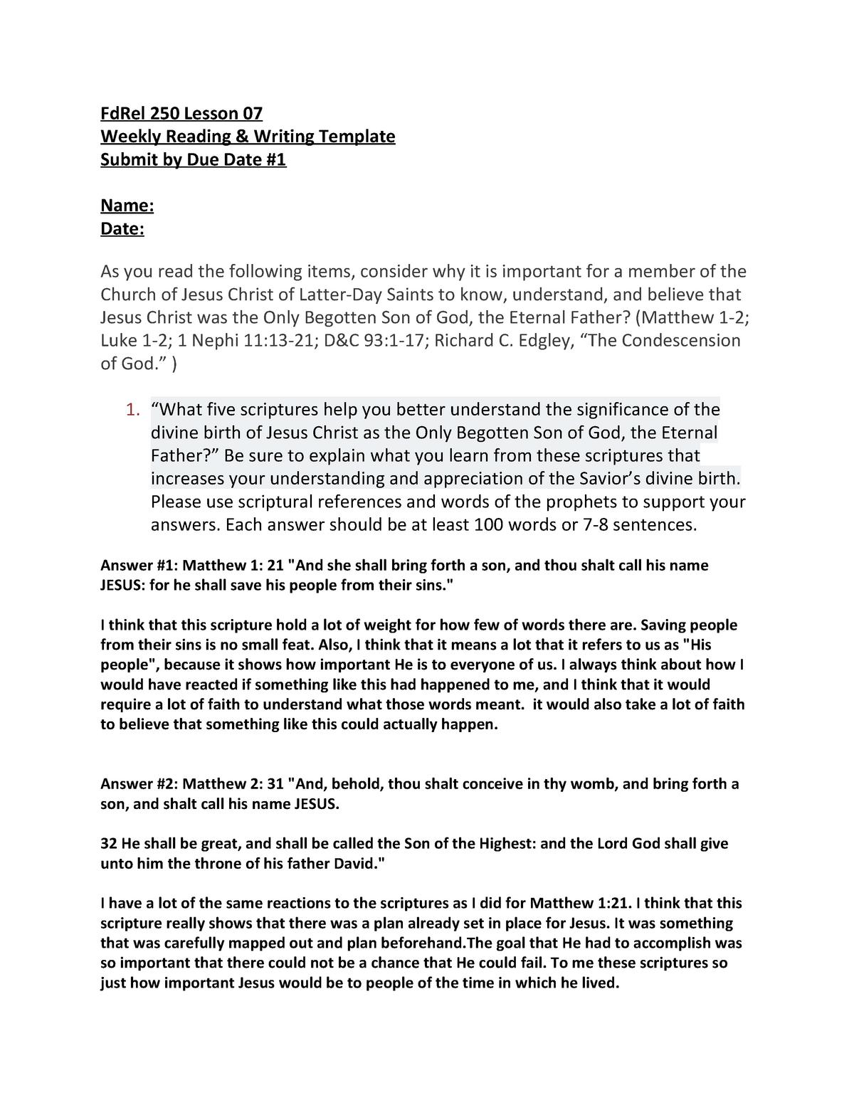fca9b4fc Fd Rel 250 Lesson 07 Writing Template - FDREL250: Jesus Christ And The  Everlasting Gospel - StuDocu