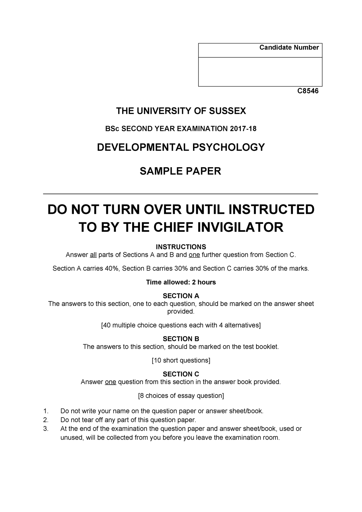 C8546 Developmental Psychology 2017-18 Sample with Answers