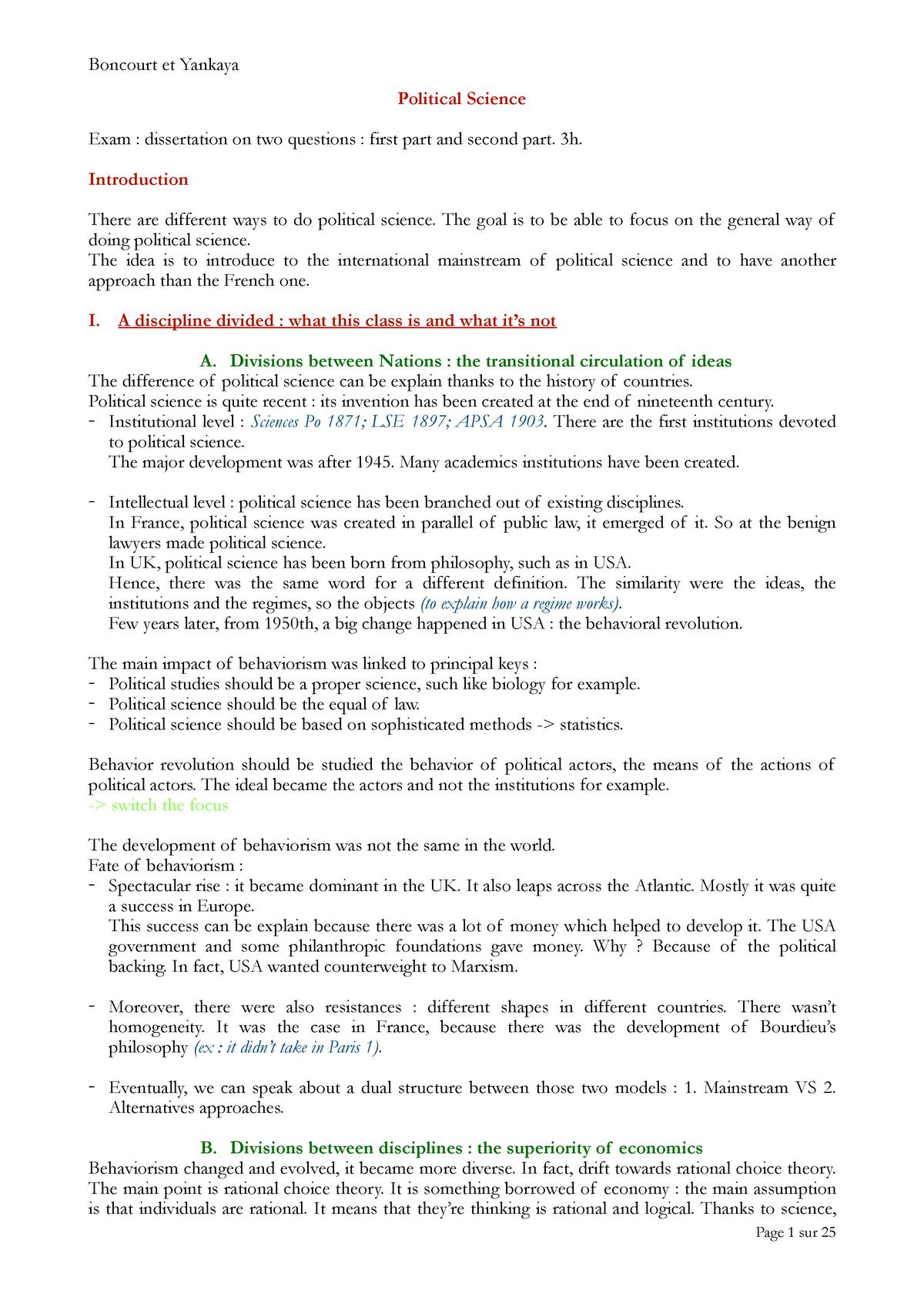 Political Science - Political science - StuDocu