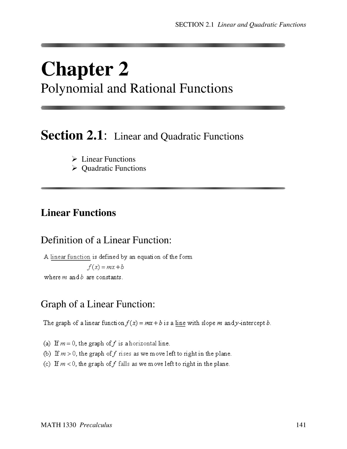 Linear and Quadratic Functions section 2 1 - MATH 1330: Precalculus