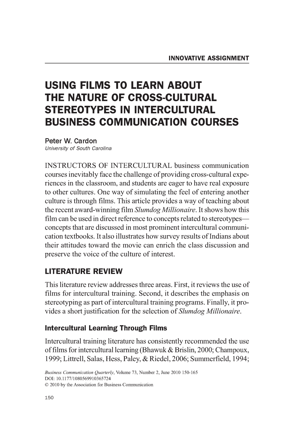 Using Films to Learn About Cross-cultural Communications