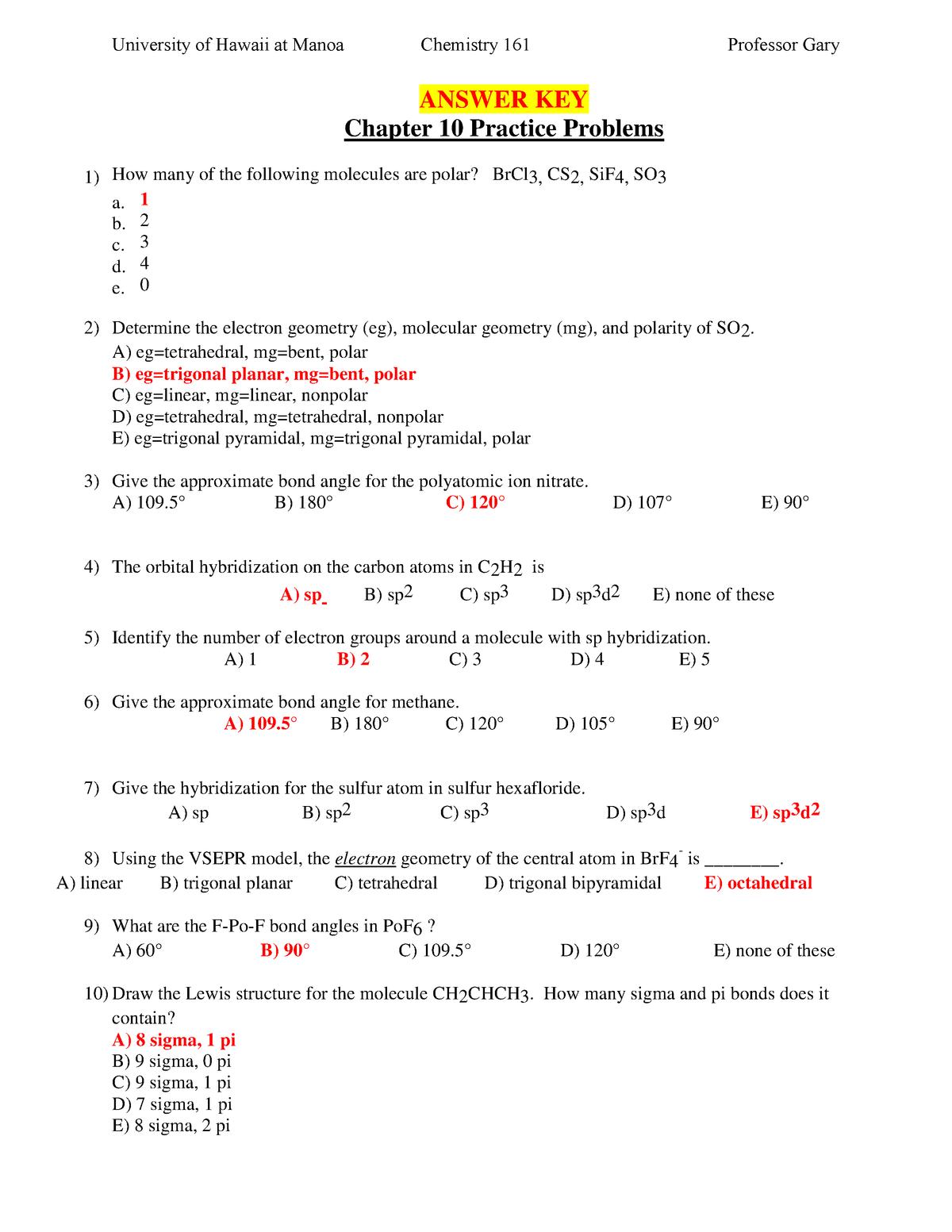 Exam 2018 - CHEM161: General Chemistry I - StuDocu