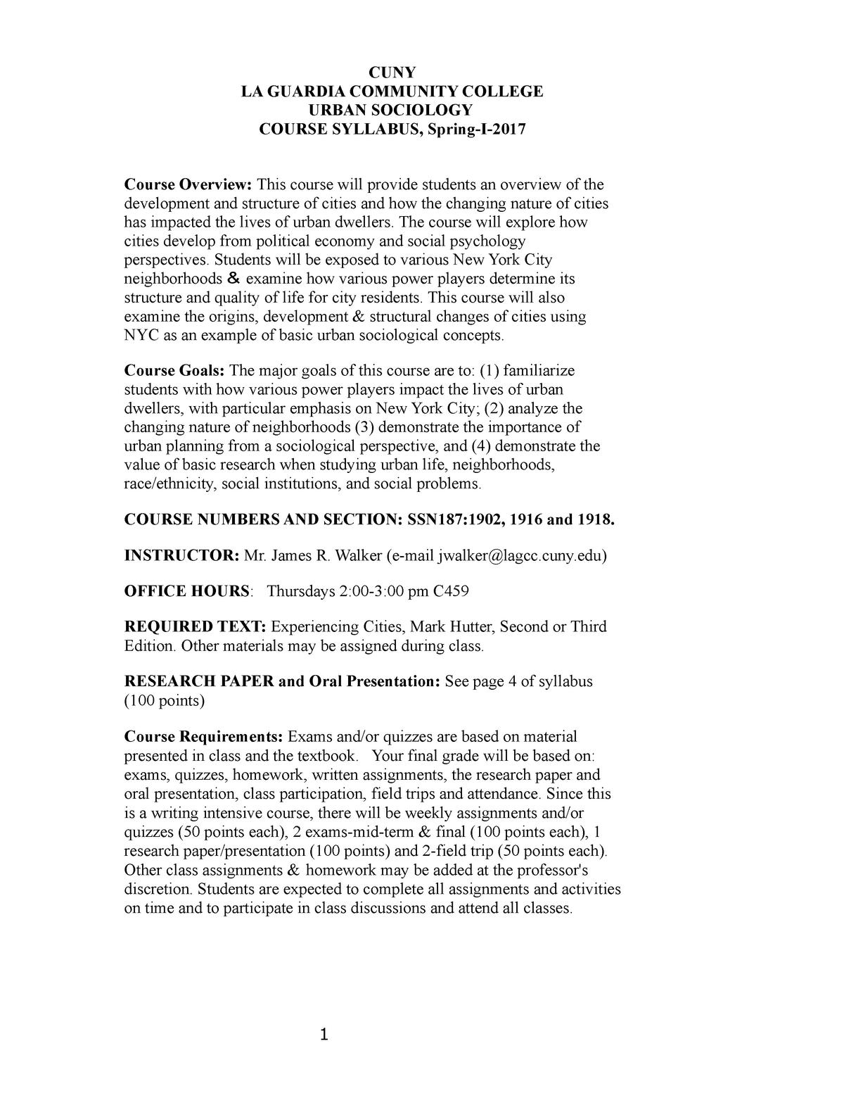 Urban syllabus Spring I 2017 - SSN 187: Urban Sociology
