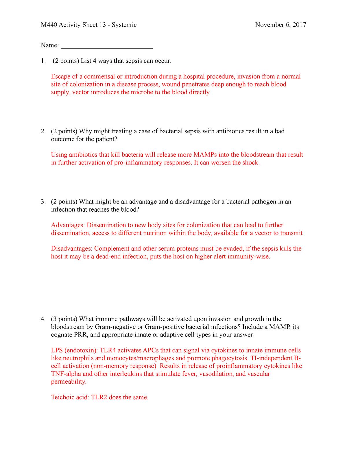 13 Systemic - KEY - Lecture notes 13 - BIOL-M 440 - StuDocu