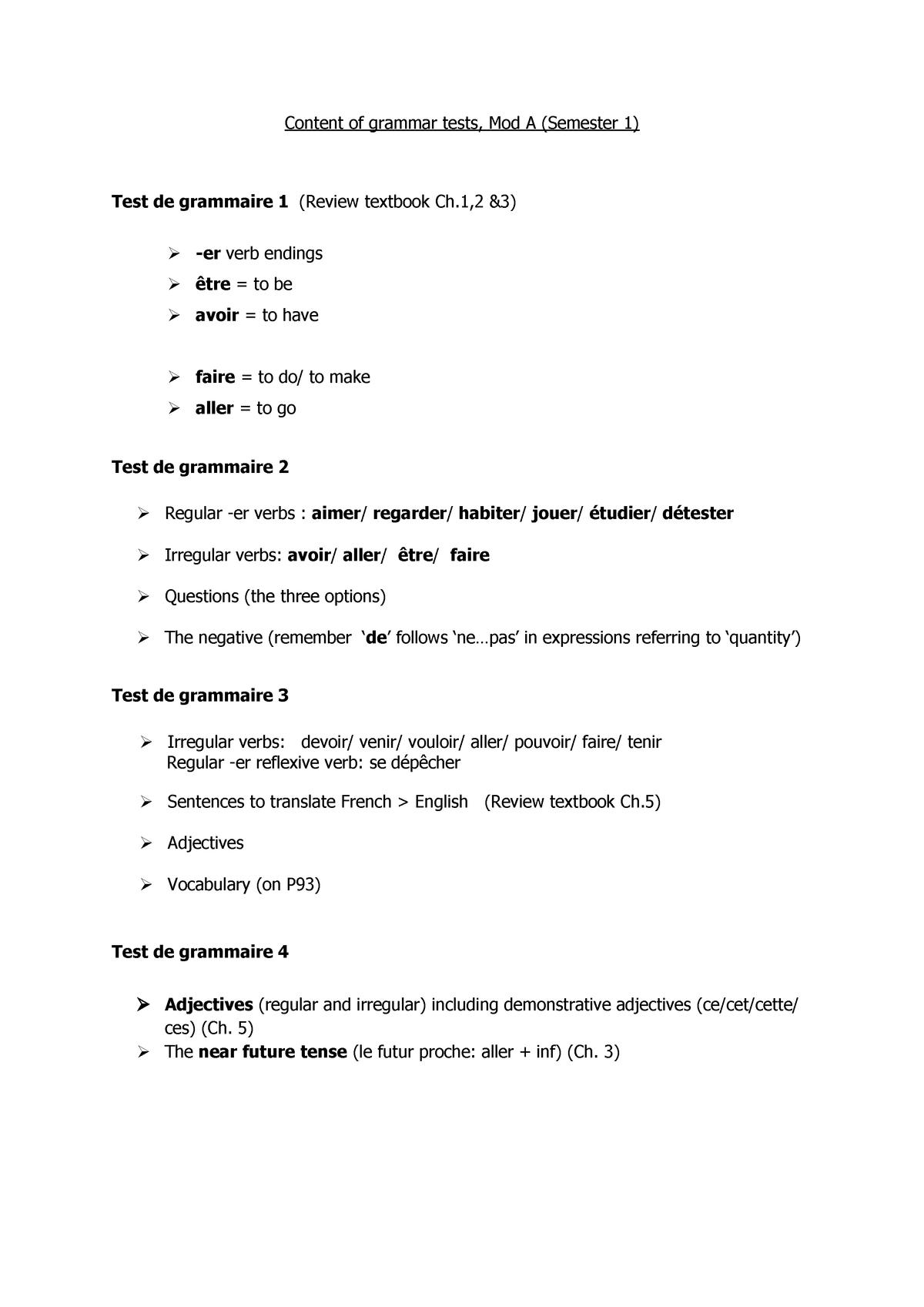 PF11001 Mod A Content of grammar tests - PF11001: Applied