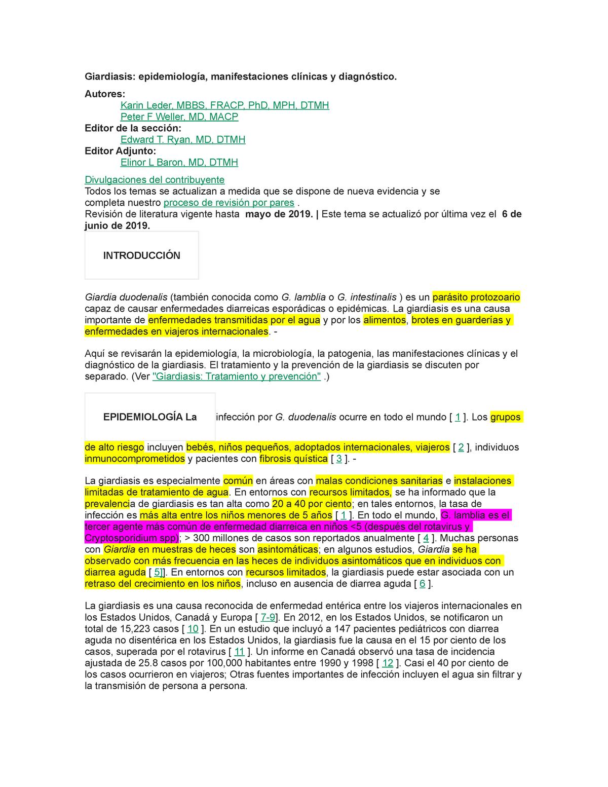 giardiasis y la estrongiloidiasis