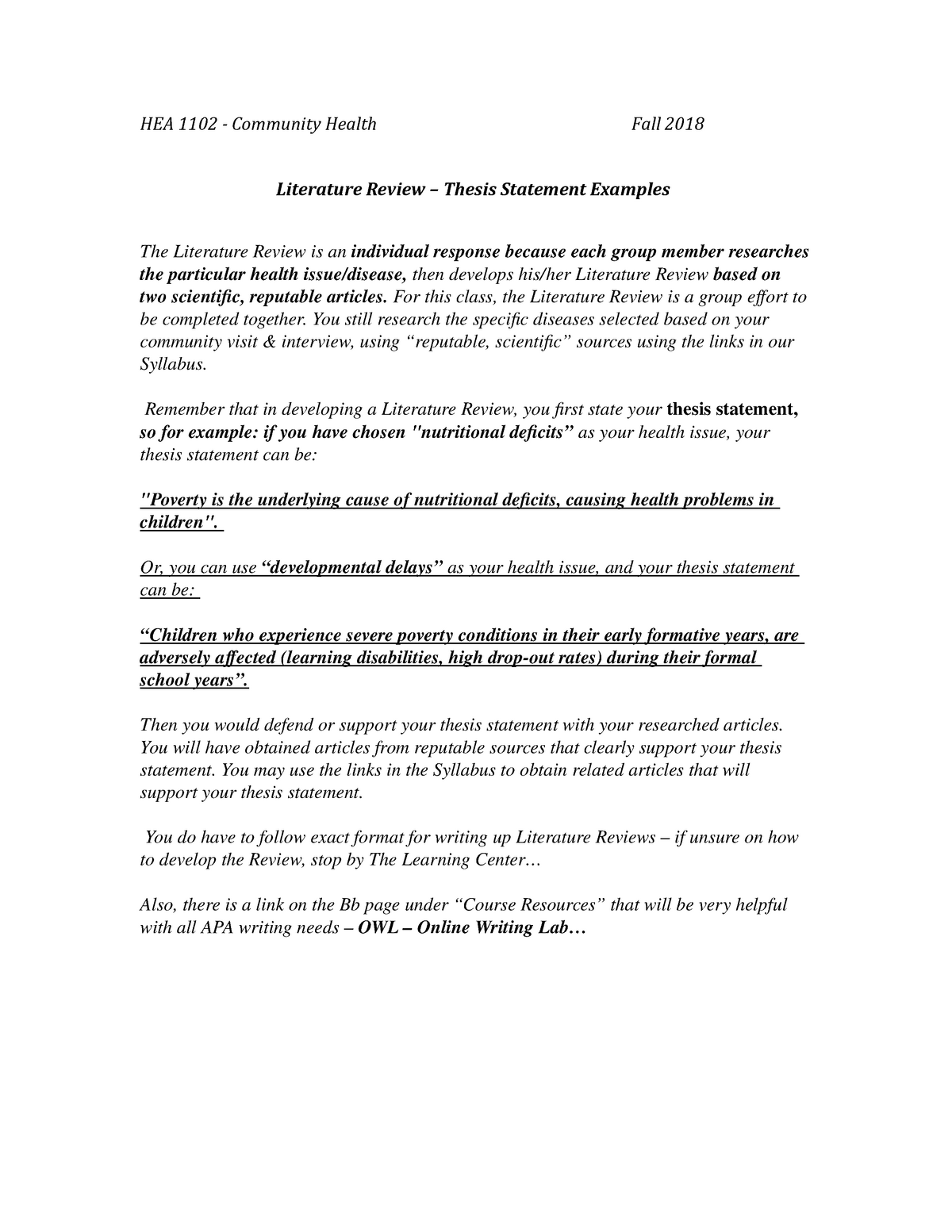 HEA 1102 Community Health Literature Review Thesis Statement Examples -  StuDocu