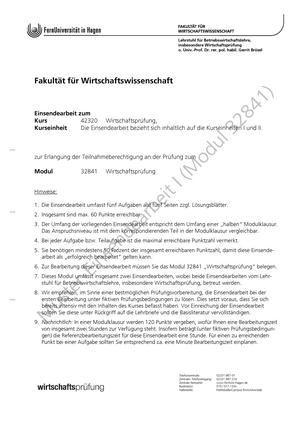 muster einsendeaufgabe zum kurs wirtschaftsprfung wirtschaftsprfung studocu - Fernuni Hagen Bewerbung