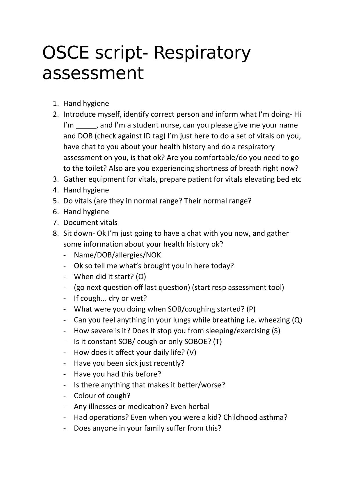 OSCE script- Respiratory assessment - NS2022:03 - JCU - StuDocu