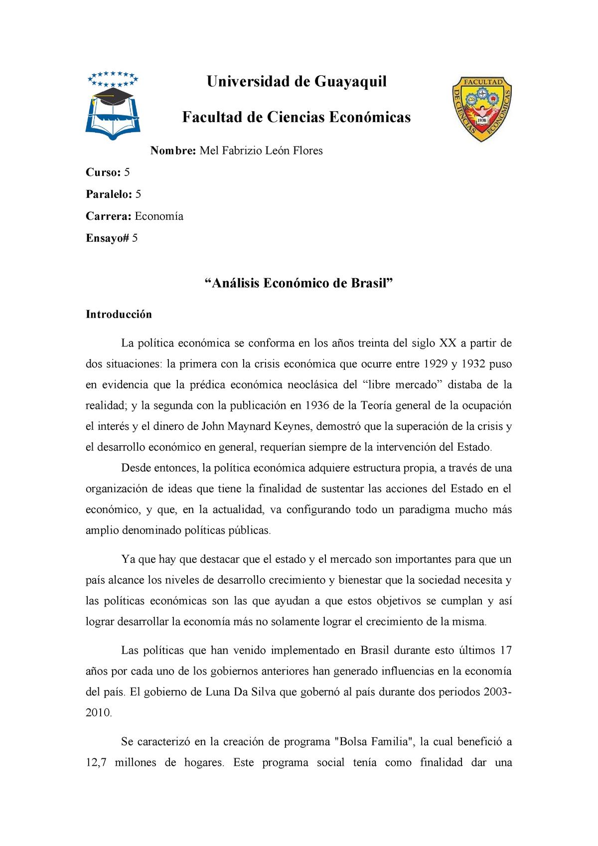 Ensayo De Brazil Nota 10 Economia Ug Studocu