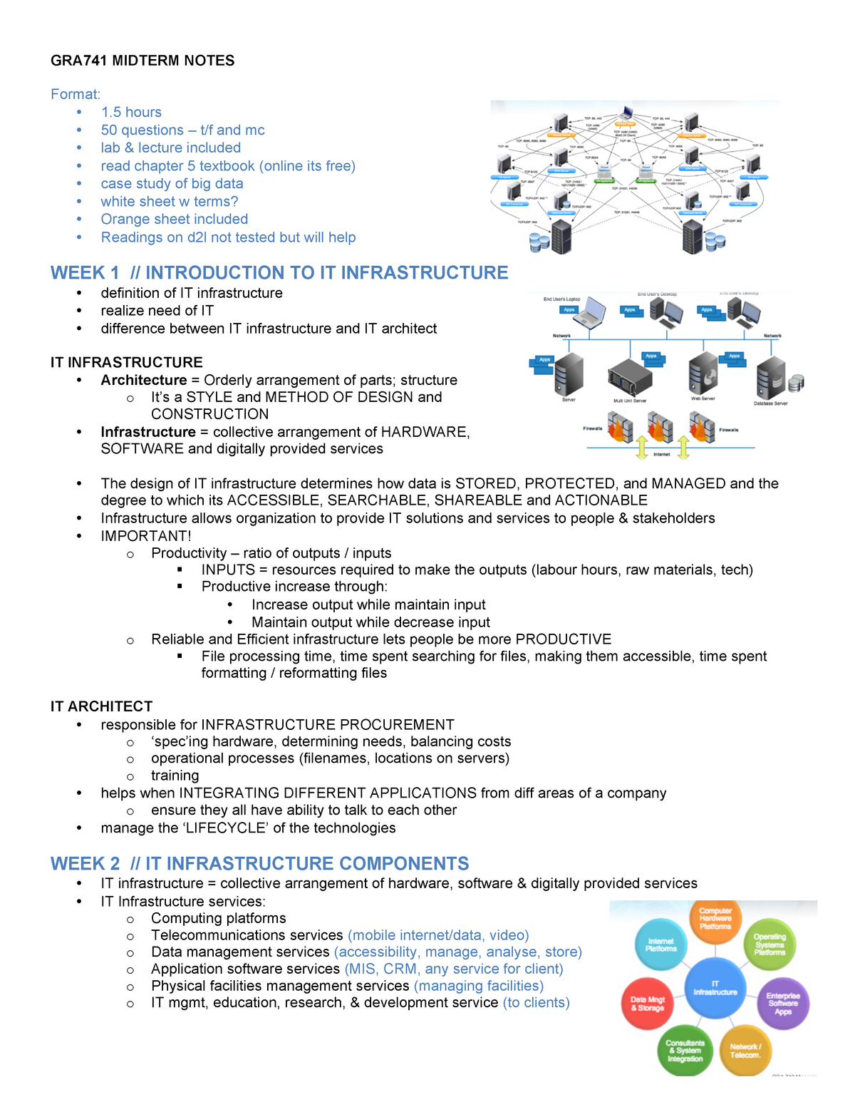 Lecture notes, midterm notes - GRA 743: Managing Advanced Technology
