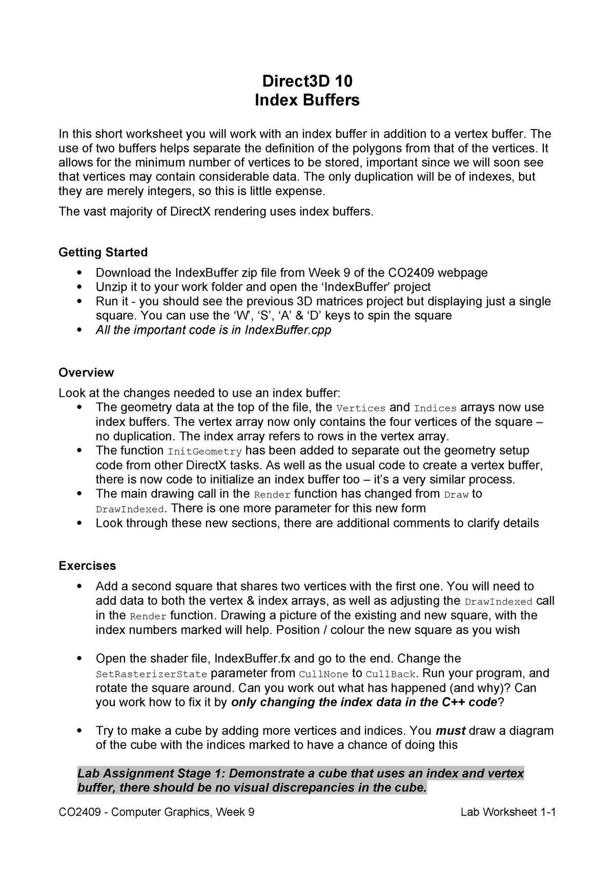 CO2409-9 Lab Worksheet - Computer Graphics - StuDocu