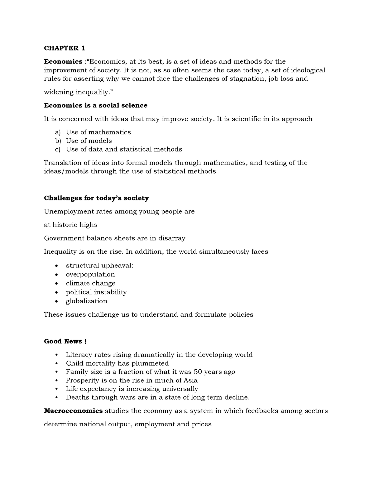 Revision notes chapter 1-5 - ECON 201 - StuDocu