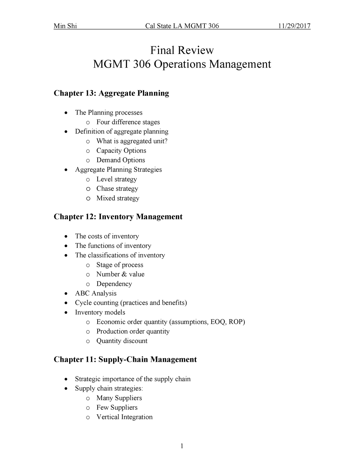 Final Review - MGMT 3060 : Operations Management - StuDocu