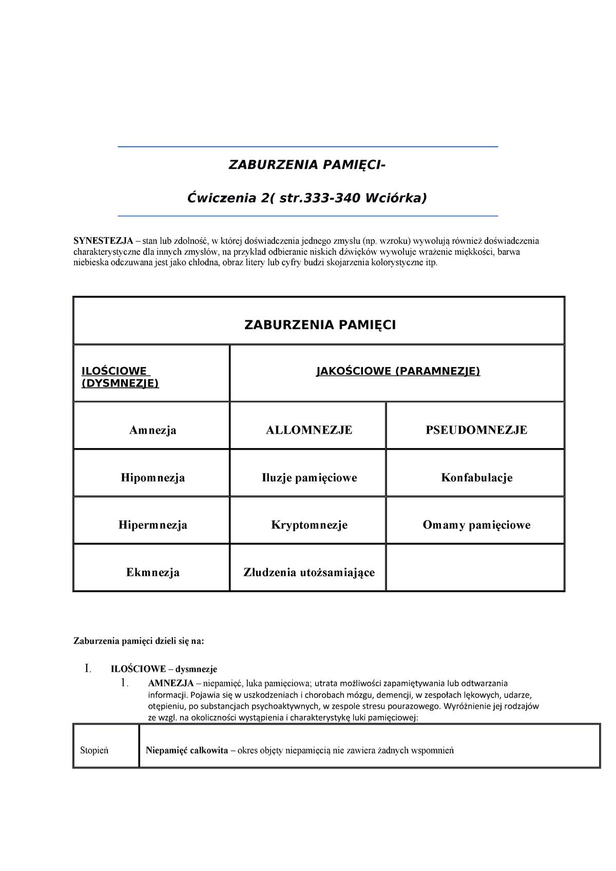 Psychopatologia Notatki Psychopatologia 06 Ps Nm 018 Uś