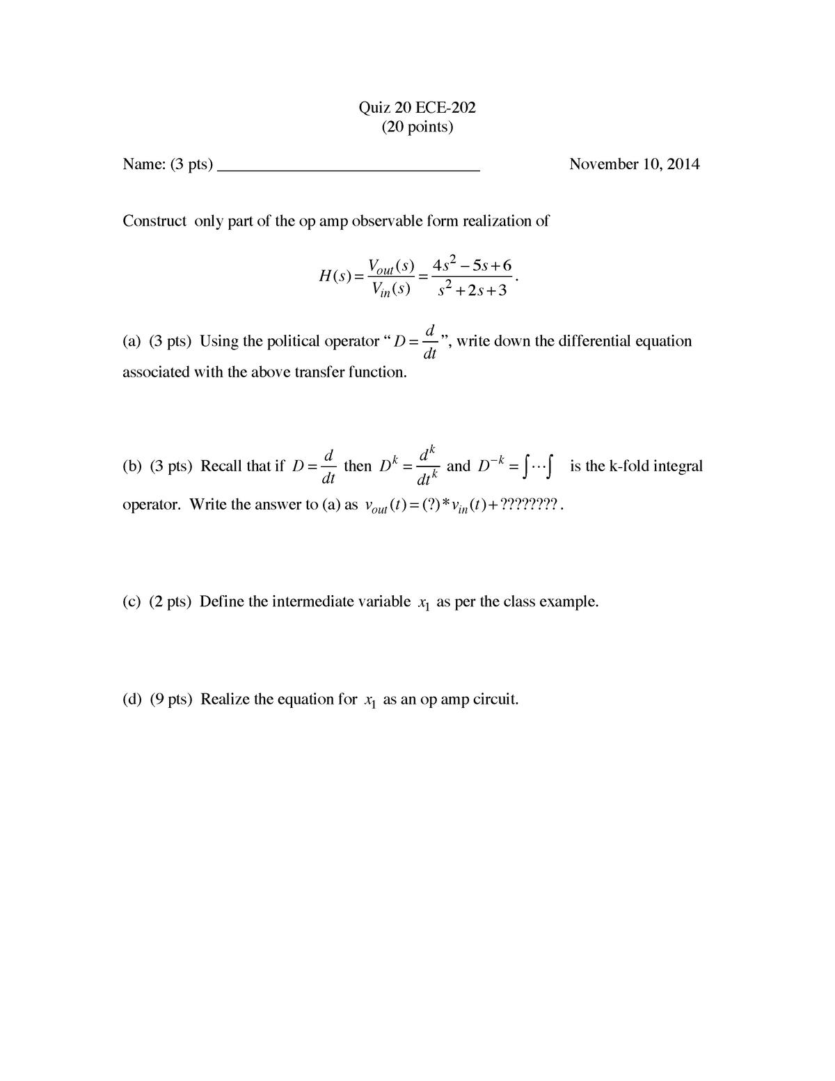 Lecture notes, Lecture 29- Quiz 2015 ECE 20200 - Purdue
